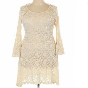 AUDREY Crochet Lace Dress with 3/4 Sleeve